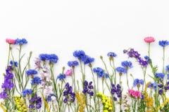 bakgrund blommar white Bästa sikt, lekmanna- lägenhet Fotografering för Bildbyråer