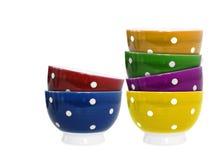 bakgrund bowlar färgrik white sex Royaltyfri Foto