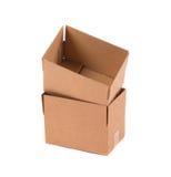 bakgrund boxes brun papp isolerad packande white Royaltyfri Bild