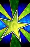 bakgrund brast den gröna stjärnan Arkivfoto