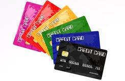 bakgrund cards krediteringswhite Arkivbilder