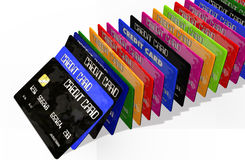 bakgrund cards krediteringswhite Arkivfoton