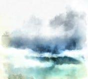 bakgrund clouds vattenfärg Royaltyfria Bilder