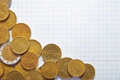 bakgrund coins blocket Royaltyfri Foto