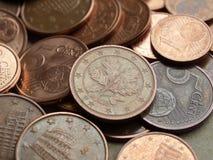 bakgrund coins euro Royaltyfria Bilder