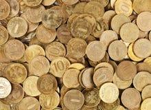 bakgrund coins guld- Fotografering för Bildbyråer