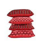 bakgrund cushions red som staplas upp white Royaltyfria Bilder