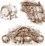 bakgrund 3d barrels model vit wine royaltyfri illustrationer
