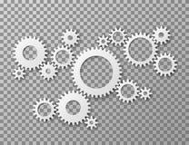 bakgrund 3d gears white Utrusta för kugghjul som isoleras på genomskinlig bakgrund Industriella maskindelar och teknik royaltyfri illustrationer
