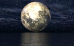 bakgrund 3D med månen över havet Royaltyfri Bild
