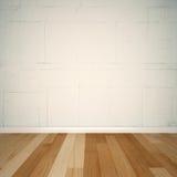 bakgrund 3d - vitt tegelstenvägg och trägolv Arkivfoto