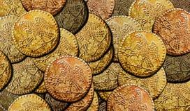 Bakgrund Dacian Koson för guld- mynt royaltyfri illustrationer