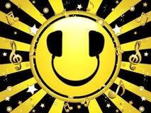bakgrund dj party smiley royaltyfri illustrationer