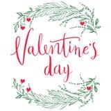Bakgrund eller kort för bokstäver för tappning för Februari 14th valentindag med hjärtor Arkivbilder