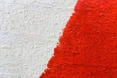 Bakgrund eller textur av röd-vit målade träbrädenärbild Arkivfoton