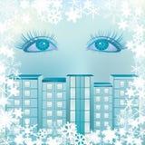 bakgrund eyes snowflakes Royaltyfria Foton