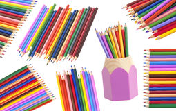 bakgrund färgade isolerade blyertspennor för djup fältet blir grund white royaltyfria foton