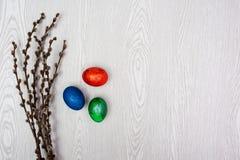 bakgrund färgade vektorn för tulpan för formatet för easter ägg eps8 den röda Pussypilen förgrena sig och kvinnahanden med ägg Le Fotografering för Bildbyråer