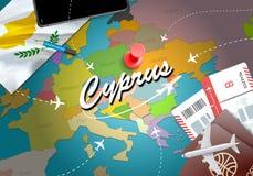 Bakgrund för översikt för Cypern loppbegrepp med nivåer, biljetter visit vektor illustrationer
