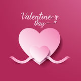 Bakgrund för abstrakt begrepp för dag för valentin` s hjärta- och bandsnittpapper Arkivfoton