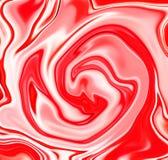 Bakgrund för abstrakt begrepp för jordgubbegodisvirvel Den röda jordgubben och vit mjölkar vätskeblandningen Royaltyfria Bilder