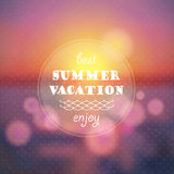 Bakgrund för abstrakt begrepp för sommarsemester Solnedgång på havsstrandillustrationen Arkivbild