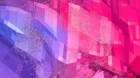 bakgrund för abstrakt begrepp för tolkningen 3d färgar geometrisk med modern lutning i låg poly stil yttersida 3d med blått rött Stock Illustrationer