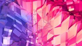 bakgrund för abstrakt begrepp för tolkningen 3d färgar geometrisk med modern lutning i låg poly stil yttersida 3d med blått rött Vektor Illustrationer