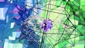 bakgrund för abstrakt begrepp för tolkningen 3d färgar geometrisk med modern lutning i låg poly stil yttersida 3d med gräsplanblå Stock Illustrationer