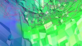 bakgrund för abstrakt begrepp för tolkningen 3d färgar geometrisk med modern lutning i låg poly stil yttersida 3d med gräsplanblå Royaltyfri Illustrationer