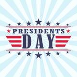 Bakgrund för affisch för dag för vektorUSA presidenter med stjärnor, band och bandet Royaltyfri Foto
