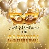 Bakgrund för affisch för ferie för karnevalpartimaskering Vektorillustrati royaltyfri illustrationer