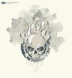 Bakgrund för affisch i grungestil med skallen i flamma Royaltyfri Foto