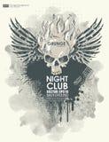 Bakgrund för affisch i grungestil med skallen i flamma Royaltyfri Fotografi