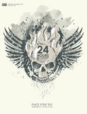 Bakgrund för affisch i grungestil med skallen i flamma Royaltyfri Bild