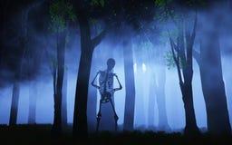 bakgrund för allhelgonaafton 3D av ett skelett i en dimmig skog Arkivbild