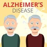 Bakgrund för Alzheimers sjukdombegrepp, tecknad filmstil royaltyfri illustrationer