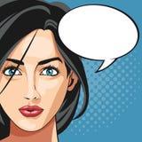 Bakgrund för anförande för bubbla för kvinna för popkonst prickig Arkivbild