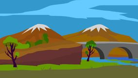 Bakgrund för animering, bro och berg vektor illustrationer