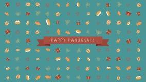 Bakgrund för animering för design för Chanukkahferielägenhet med traditionella symboler och engelsk text arkivfilmer