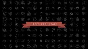 Bakgrund för animering för design för Chanukkahferielägenhet med traditionella symboler och engelsk text stock video