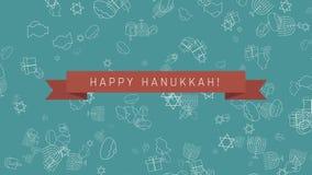 Bakgrund för animering för design för Chanukkahferielägenhet med traditionella symboler och engelsk text lager videofilmer