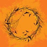 Bakgrund för apelsin för vektorallhelgonaaftonkrans Arkivbild