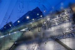 Bakgrund för arkitektur för abstrakt stad för affär modern stads- futuristisk Fastighetbegrepp, rörelsesuddighet, reflexion in Royaltyfri Fotografi