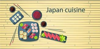 Bakgrund för bambu för kokkonst för Japan mat traditionell asiatisk stock illustrationer