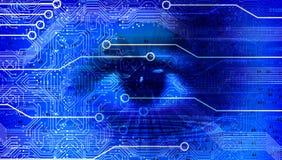 Bakgrund för baner för affär för ögonvisionteknologi blå F?rbindelseteknologiv?rldsjordklot Google ocks? vektor f?r coreldrawillu vektor illustrationer