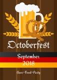 Bakgrund för baner för garnering för Oktoberfest beröm traditionell Bayerskt glass kort för inbjudan för karneval för ölillustrat royaltyfri fotografi
