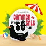 Bakgrund för baner för sommarförsäljningsbefordran och objektdesign med royaltyfri illustrationer