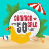 Bakgrund för baner för sommarförsäljningsbefordran och objektdesign med vektor illustrationer