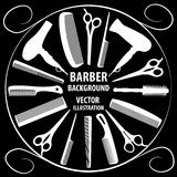 Bakgrund för barberare och frisör Royaltyfri Illustrationer